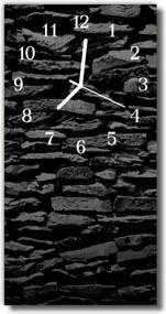 Sklenené hodiny vertikálne  Kamenný múr tehla čierna