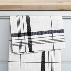 Goldea kuchynská utierka s bambusovým vláknom - vzor 015 čierne prúžky na bielom 50 x 70 cm