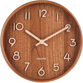 Hnedé nástenné hodiny z lipového dreva Karlsson Pure Small, ø 22 cm