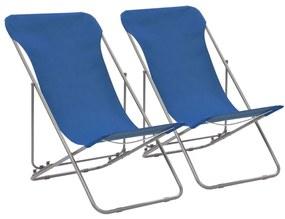 vidaXL Skladacie plážové kreslá 2 ks, oceľ a oxfordská látka, modré