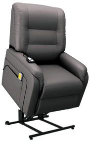 vidaXL Elektrické zdvíhacie masážne TV kreslo, sivé, umelá koža