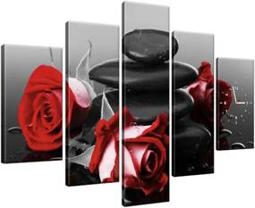 Obraz s hodinami Červené ruže a kamene 150x105cm ZP1705A_5H