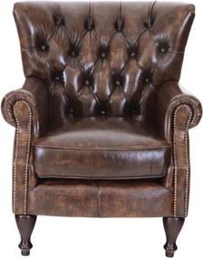 Kreslo Buckingham z pravej hovädzej kože Whisky