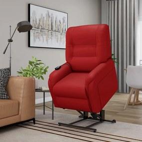 vidaXL Elektrické zdvíhacie masážne TV kreslo,červené, umelá koža