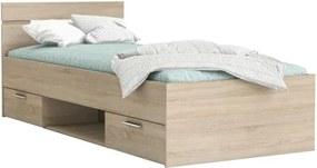 KONDELA Michigan 90 jednolôžková posteľ s úložným priestorom dub sonoma