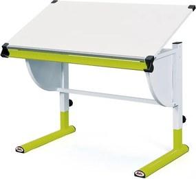 Polohovateľný písací stôl Cetrix, zelený/biely