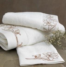 Soft Cotton Malý uterák VIOLA 32 x 50 cm Smotanová / bronzová výšivka