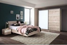 SYDNEY 2 spálňová zostava Posteľ 160 s roštom+Skriňa 215cm+2x nočný stolík dub bergamo/biely lesk
