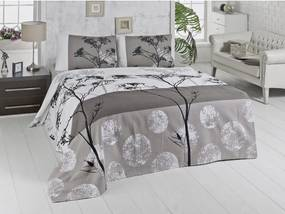 Ľahká hnedá prikrývka cez posteľ na dvojlôžko Belezza Grey, 200×230 cm