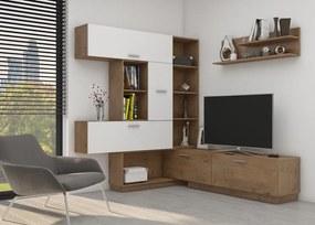 Moderná obývacia zostava Rain - biela / dub lancelot S komodou