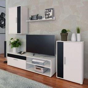 Obývacia stena, biela/čierna, KEVIN