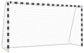 vidaXL Futbalová bránka 300x160x90 cm kovová čierna a biela