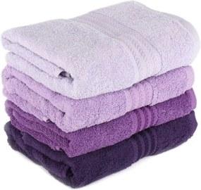 Sada 4 fialových bavlnených uterákov Rainbow, 50 × 90 cm