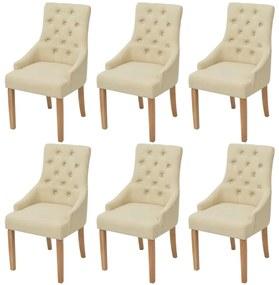 vidaXL Dubové jedálenské stoličky, 6 ks, látkové, krémové