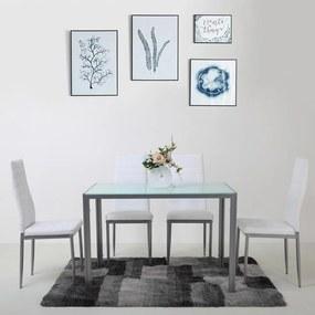 Jedálenský set 4x stolička + stôl Catina Austin - Biela