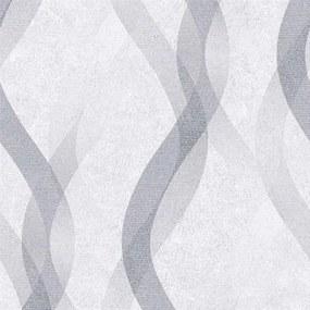 Vliesové tapety na stenu LIVIO 402634, vlnovky sivo-strieborné na sivom podklade, rozmer 10,05 m x 0,53 m, IMPOL TRADE
