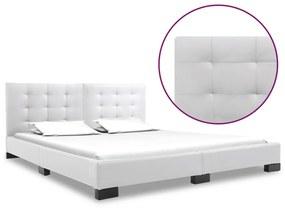 vidaXL Rám postele biely umelá koža 160x200 cm