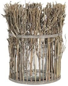 Lucerna so skleneným valcom z bambusových stoniek s listami - Ø 21 * 28 cm