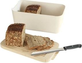Béžový chlebník s bambusovou doskou Wenko Derry