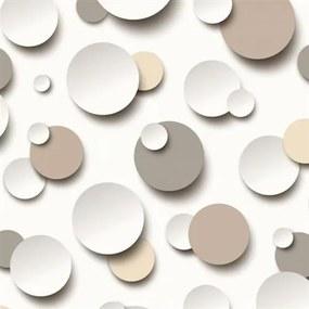 Vliesové tapety, guličky hnedé, biele, sivé, Just Like It J63407, UGEPA, rozmer 10,05 m x 0,53 m