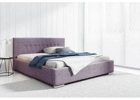 Čalúnené jednolôžko Ingrid s úložným priestorom fialová 140 x 200