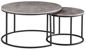 TEMPO KONDELA Iklin okrúhly konferenčný stolík (2 ks) betón / čierna