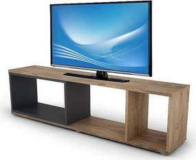 TV stolík / regál Cubix, dub burgund / grafitovo šedý