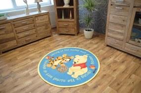 3kraft Guľatý detský koberec Medvedík Pú modrý
