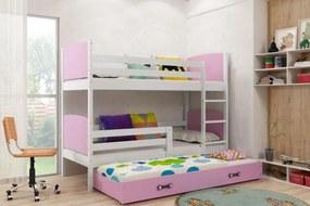 Poschodová posteľ s prístelkou TAMI 3 - 190x80cm - BIELA - RUŽOVÁ