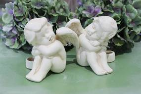Krémové sošky sediacich anjelikov 2-set