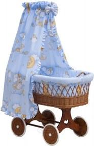 Proutěný koš na miminko s nebesy Mráček - modrá