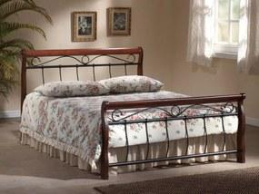 Eshopist Kovová posteľ VENECJA 120 x 200 cm antická čerešňa / čierna