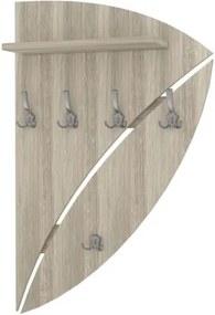 Dizajnový nástenný vešiak s policou zadná doska zaoblená - pravostranný - Dub Sonoma