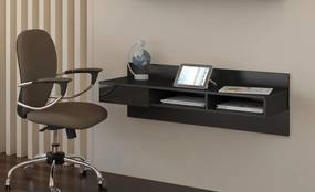 MEBLOCROSS Uno pc stolík na stenu čierna