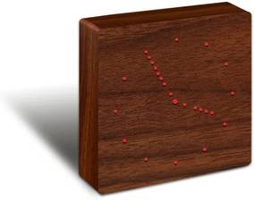 Hnedý budík s červeným LED displejom Gingko Analogue Click Clock
