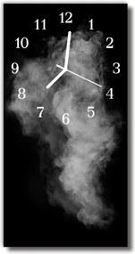 Sklenené hodiny vertikálne  Abstrakcie dymu. čiernobiele