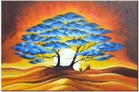 Ručne maľovaný obraz Odpočinok pod modrým stromom 120x80cm RM3895A_1B