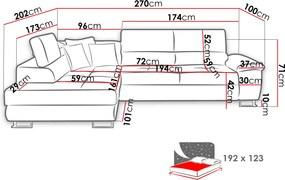 Luxusná sedacia súprava Cinnamon, biela / žltá Roh: Orientace rohu Pravý roh
