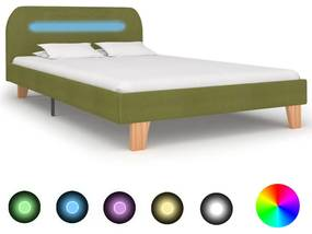 vidaXL Rám postele s LED svetlom zelený látkový 120x200 cm