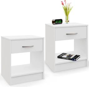 2x nočný stolík so zásuvkou - biely