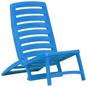 vidaXL Skladacie plážové stoličky 4 ks modré plastové