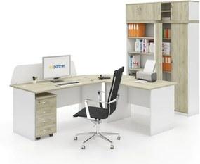 Zostava kancelárskeho nábytku MIRELLI A+, typ A, biela/dub sonoma