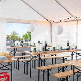 Záhradný pivný set (stôl s lavicami), zelená/borovica