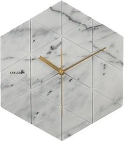 KARLSSON Nástenné hodiny Marble Hexagon biele