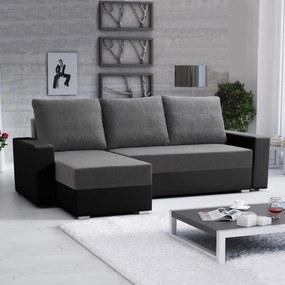 Rozkladacia rohová sedacia súprava Catina VENTO 2, úložný priestor - Tm. sivá / čierna