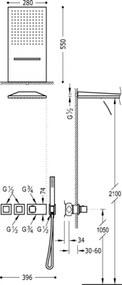 TRES - Termostatický podomietkový sprchový set BLOCK SYSTEM s uzáverom a reguláciou prietoku (3-cestná (20725302NM)
