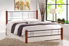 HALMAR Viera 160 kovová manželská posteľ s roštom čerešňa antická / čierna