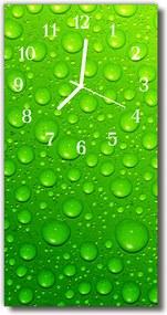 Sklenené hodiny vertikálne  Príroda kvapky vody zelená rosa