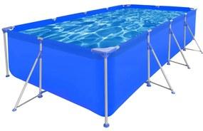 Obdĺžnikový nadzemný bazén s oceľovým rámom 394 x 207 x 80 cm