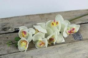 Biela v strede žltoružová umelá orchidea 60cm